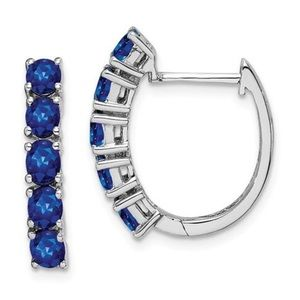 Jewelry - 925 Sterling Silver Sapphire Hoop Earrings